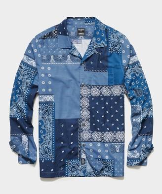 Todd Snyder Italian Long Sleeve Camp Collar Shirt in Bandana Patchwork Print
