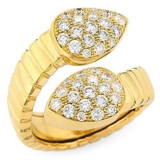 Alberto Milani Via Brera 18K Yellow Gold & Pave Diamond Bypass Pear Ring