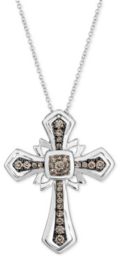 "LeVian Le Vian Chocolatier Chocolate Diamond Cross 18"" Pendant Necklace (1/3 ct. t.w.) in 14k White Gold"