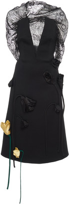 Prada Deep V-Neck Lace AppliquA Midi Dress