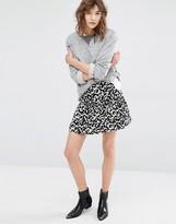 Suncoo Fauve Ruffle Skirt in Print