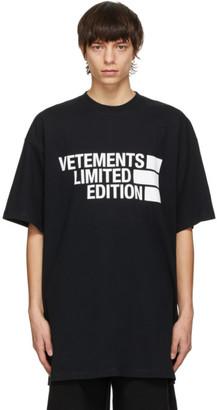Vetements Black Big Logo Limited Edition T-Shirt