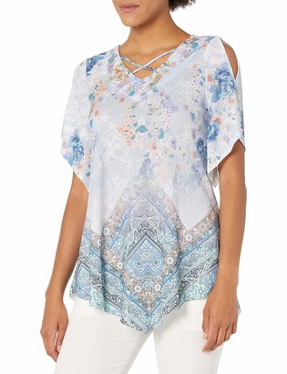 One World ONEWORLD Women's Elbow Sleeve Point Hem Top with Criss Cross Straps