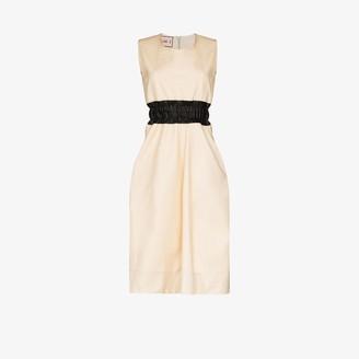 Plan C Shirred Waist Cotton Midi Dress