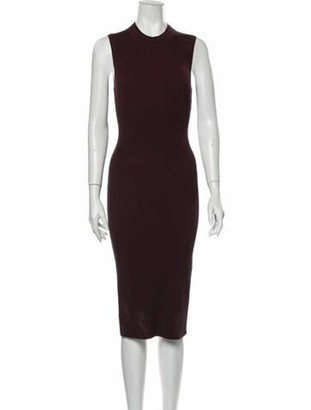 Victoria Beckham Printed Midi Length Dress Purple