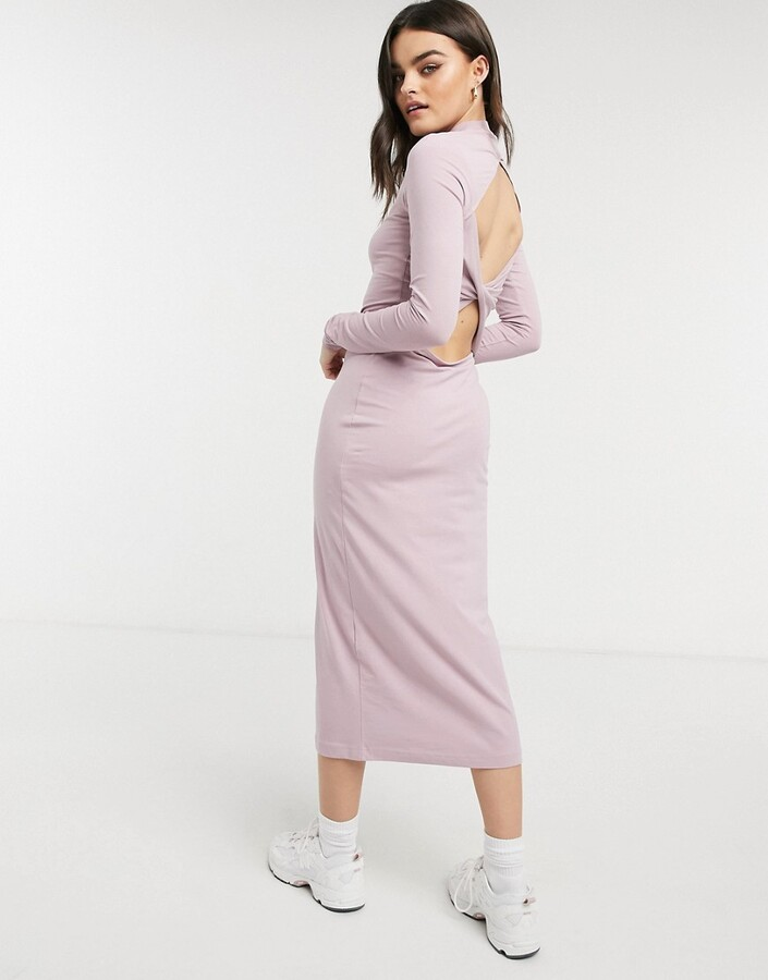 Thumbnail for your product : Weekday Begonia organic blend cotton cut out back midi dress in dusty pink