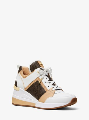 michael michael kors georgie canvas and leather sneaker
