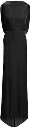 Brandon Maxwell Velvet Drape-Back Gown