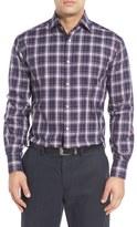 Thomas Dean Classic Fit Plaid Twill Sport Shirt (Regular & Tall)