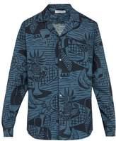 Desmond & Dempsey - Cubist Print Cotton Poplin Pyjama Shirt - Mens - Blue