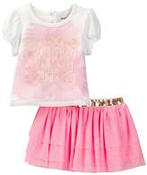 Juicy Couture Gerber Daisy Print Top & Glitter Mesh Skirt Set (Toddler Girls)