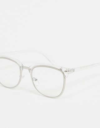 clear ASOS DESIGN rectangle glasses with detail and lens