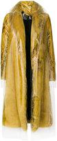 Calvin Klein transparent overlay faux fur coat