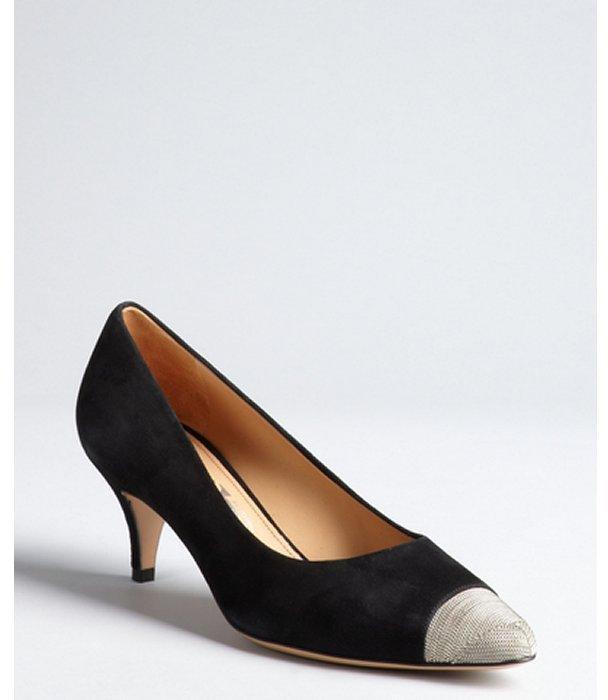 Salvatore Ferragamo black suede and metal toe kitten heels