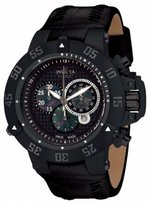 Invicta Men's 10200 Subaqua III Chronograph Black Perforated Dial Black Leather Watch