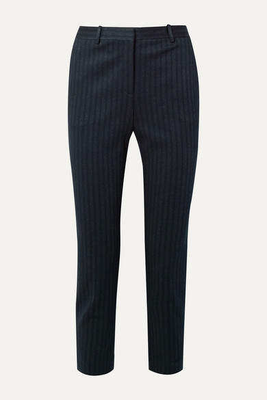 Theory Cropped Pinstriped Stretch-knit Slim-leg Pants - Midnight blue