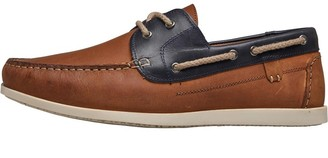 Onfire Mens Leather Boat Shoes Tan/Navy
