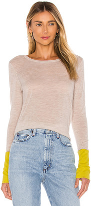 Autumn Cashmere Contrast Sleeve Crew Sweater