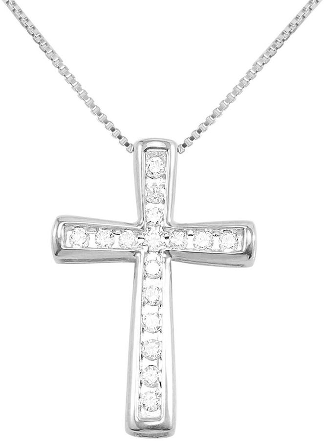 JCPenney FINE JEWELRY CT. T.W. Diamond Cross 10K White Gold Pendant Necklace