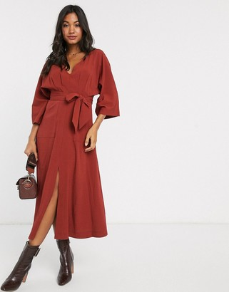 ASOS DESIGN textured midi dress with pockets in rust