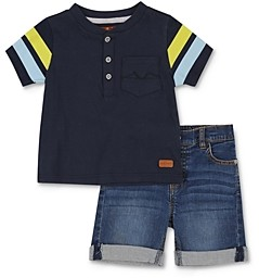 7 For All Mankind 7 For All Man Kind Boys' Henley Tee & Denim Shorts Set - Baby