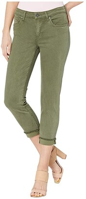 KUT from the Kloth Amy Crop Straight Leg Roll Up Frey in Olive (Olive) Women's Jeans