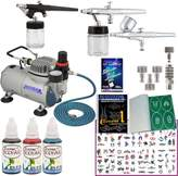 Master Airbrush Professional Temporary Tattoo 3 Airbrush Kit with G22, S68, E91 Airbrushes, Master Compressor TC-20, Air Hose, 100 Tattoo Stencils & 3 Custom Body Art Tattoo Colors