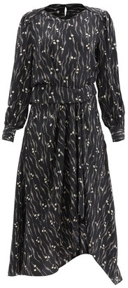 Isabel Marant Romina Abstract-print Silk Midi Dress - Black Print