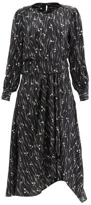 Isabel Marant Romina Abstract-print Silk Midi Dress - Black Print