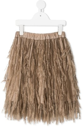 BRUNELLO CUCINELLI KIDS Fringe-Layered Tulle Skirt