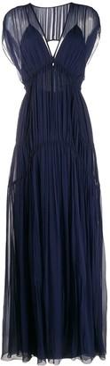 Alberta Ferretti Pleated Evening Dress
