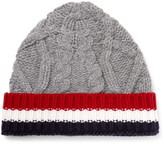 Thom Browne - Striped Cable-knit Wool Beanie