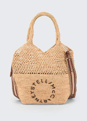 Stella McCartney Crochet Raffia Logo Small Tote Bag