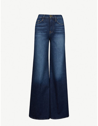 Frame Le Palazzo wide-leg faded high-rise stretch-denim jeans