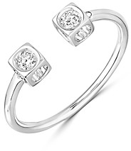 Dinh Van 18K White Gold Le Cube Diamant Open Ring with Diamonds