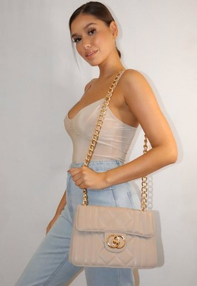 Missguided Cream Quilted Double Ring Handbag