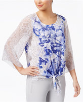 JM Collection Embellished Tie-Front Top, Created for Macy's