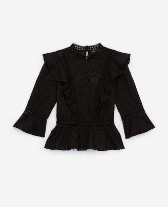 The Kooples Long-sleeved black embroidered top w/peplum