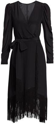 Kobi Halperin Phoebe Fringe Wrap Silk Dress