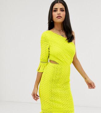 Asos DESIGN Tall one shoulder midi dress in cutwork lace with fringe hem