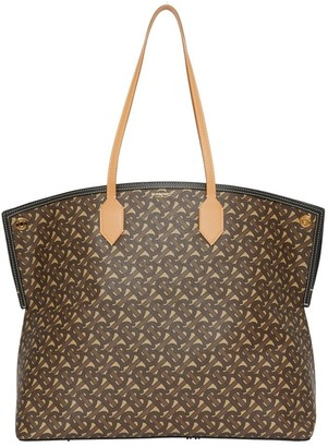 Burberry Large Monogram E-canvas Society Tote