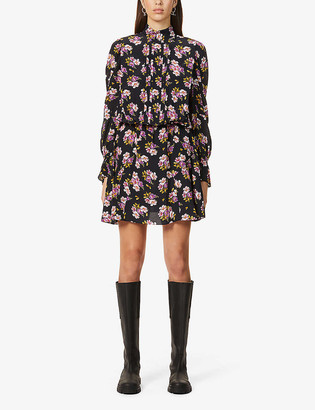 Zadig & Voltaire Rabbi peonies-print silk-crepe mini dress