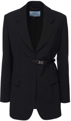 Prada Light Cool Wool Blazer W/ Buckle