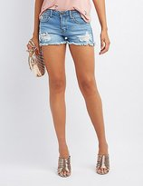 Charlotte Russe Machine Jeans Mid-Rise Distressed Denim Shorts
