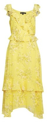 Dorothy Perkins Womens Yellow Ruffle Strappy Midi Dress, Yellow