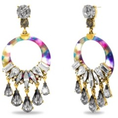 Catherine Malandrino Rhinestone Drop Rainbow Hoop Earring in Yellow Gold-Tone Alloy