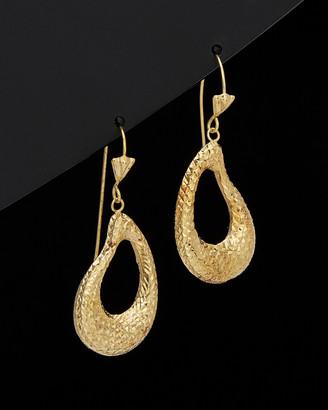 Italian Gold 14K Diamond Cut Teardrop Dangle Earrings