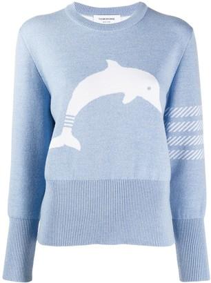 Thom Browne 4-Bar dolphin-icon jumper