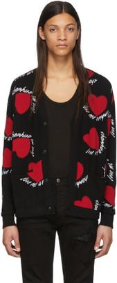 Amiri Black Cashmere Hearts Cardigan