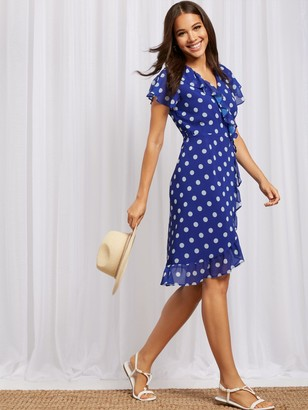 New York & Co. Dot-Print Ruffled Wrap Dress - Sweet Pea
